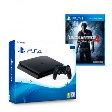 Play Station 4 Slim + Uncharted 4 Sony 9896050 1 TB (2 pcs)